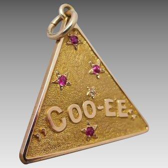 Antique Edwardian c1906 'COOEE' Australian Southern Cross Gemstone Fob Pendant