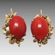 Vintage Mid-Century 14K Gold 'Oxblood' Coral Earrings