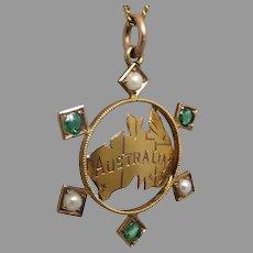 Antique c1901 Post Federation Emerald & Seed Pearl Map of Australia Fob Pendant