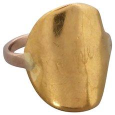 Antique Edwardian Curved 22k Half Sovereign Coin Ring, 9k Band