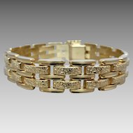 Estate 14k Yellow Gold Unisex Textured & Polished Gate Link Bracelet
