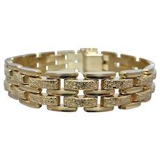 Estate 14k Yellow Gold Unisex Textured & Polished Gate Link Bracelet