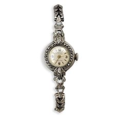 Vintage Late Art Deco c1940 Sterling Silver Marcasite Swiss Herma Wrist Watch, Working