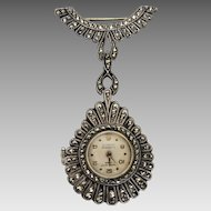 Vintage Art Deco 1930's Swiss Philippe Beguin Sterling Silver Marcasite Watch Pin Pendant