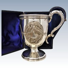 Victorian Sterling Silver Repousse Christening Mug by Hilliard & Thomason, Cased