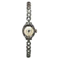 Vintage 1950's Sterling Silver Swiss Proxima Marcasite Ladies Watch, Working