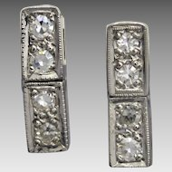 Vintage Upcycled Art Deco Petite Platinum Diamond Earrings, 9k White Gold Threaded Fittings