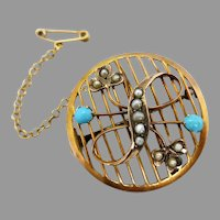 Antique Edwardian c1904 Australian 9ct Gold Turquoise & Seed Pearl Brooch or Pendant
