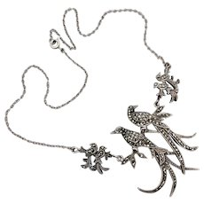 Vintage 1950's Australian Lega Sterling Silver Marcasite 'Bird of Paradise' Necklace