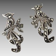 Vintage 1950's Australian Lega Sterling Silver Marcasite 'Bird of Paradise' Earrings