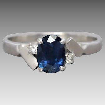 Vintage Silver Natural Sapphire & Diamond Ring