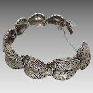 Vintage Art Deco c1930's German Sterling Silver 'Leaf' Marcasite Bracelet