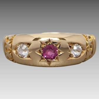 Antique 18K Gold Verneuil Ruby & White Sapphire 'Gypsy' Ring by Wendts