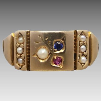 Antique Victorian 15k Gold Ruby, Sapphire & Seed Pearl Ring, Hallmarked Chester c1884