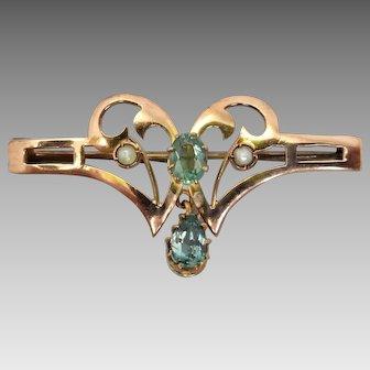 Antique Art Nouveau c1908 Aquamarine & Seed Pearl Brooch