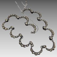 Vintage Art Deco c 1930's Silver Marcasite Necklace