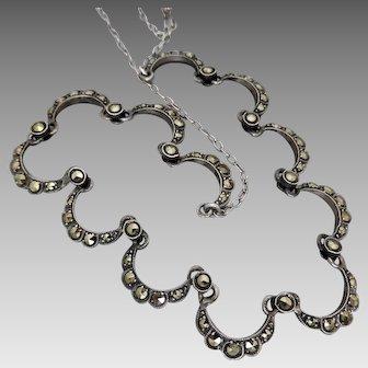 Vintage Art Deco c 1930's Silver Marcasite Necklace