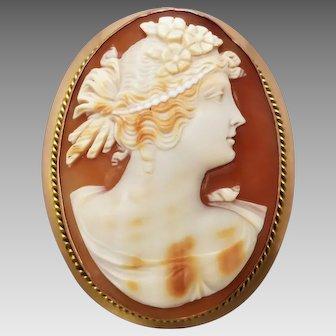 Antique Edwardian 9k Gold Shell Cameo Brooch, Australian Hallmarks