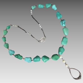 Vintage Upcycled Natural Turquoise Nugget, Pearl & Marcasite Necklace