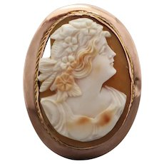 Antique c1910 Australian 9k Gold Shell Cameo Brooch by A Benjamin & Sons (damaged)