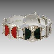 Mid 20th Century Scottish Sterling Silver Glass Agate Bracelet. Hallmarked- Ward Brothers, Glasgow 1953