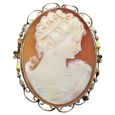 Antique late Edwardian c1910's+ Shell Cameo Brooch in Three-tone 9k Gold