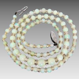 Vintage Art Deco c1925 Opal Beads and Faceted Quartz Necklace