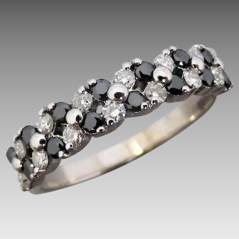 Estate 18K White Gold Black and White Diamond Ring
