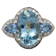Estate 18k White Gold Aquamarine &  Diamond Ring