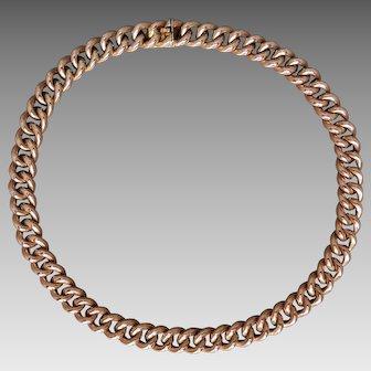 Antique Edwardian 9K Rose Gold Smooth Curb-link Choker Necklace