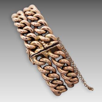 Antique Edwardian 9K Rose Gold Smooth Two Row Curb Bracelet