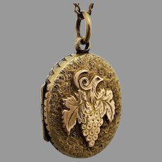 Antique Victorian Engraved & 'Grapes' Motif  Locket Pendant