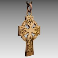 Vintage 14ct Gold Engraved Celtic Cross Pendant in Two-tone