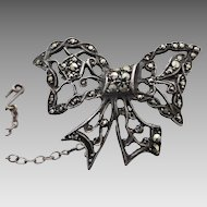 Vintage 1950's Australian Lega Sterling Silver Marcasite Bow Brooch