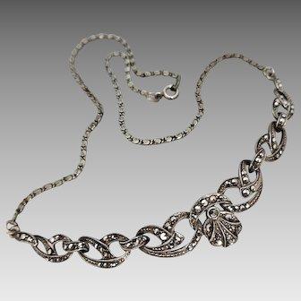 Vintage Art Deco c1930's Elegant Sterling Silver Marcasite Necklace