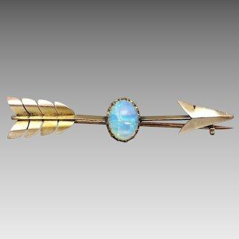 Antique Victorian 9K Gold Australian Solid Opal Arrow Brooch