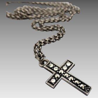 Vintage 1950's Australian Lega Sterling Silver Petite Marcasite Cross Necklace
