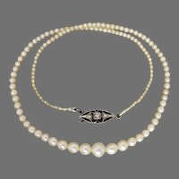 Antique Cultured & Natural Pearl Strand with 18ct Gold & Platinum Diamond Clasp