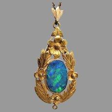Antique 1910's Arts & Crafts 15ct Gold Australian Opal Pendant