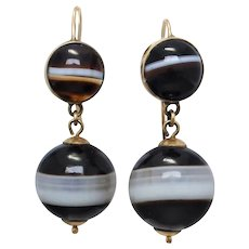 Antique Victorian 9k Gold Banded Agate Dangle Earrings