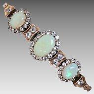 Vintage Art Deco c1920 Solid Opal & White Sapphire Bracelet