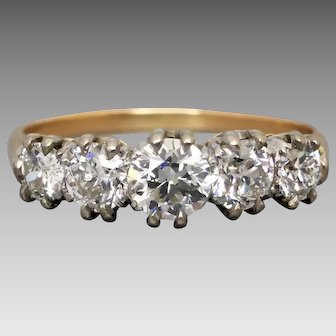 Art Deco c1930 Five Stone Early Brilliant Cut Diamond Ring, 1.10cts