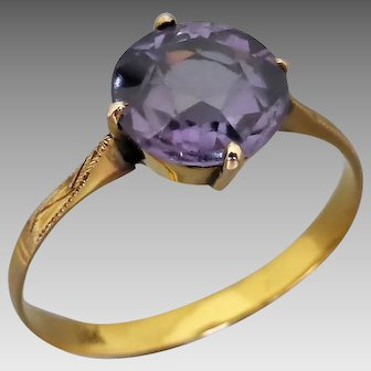 Vintage 14K Gold Colour-change Imitation Alexandrite Ring