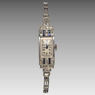 Vintage Art Deco c1925 Platinum Sapphire & Diamond Watch, Plated Band