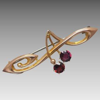 Antique Art Nouveau Australian 9ct Gold 'Cherry' Garnet Brooch