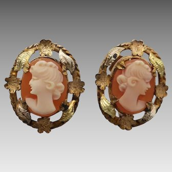 Vintage c 1920 Three-tone 9k Gold Cameo Earrings with Leaf & Flower Border