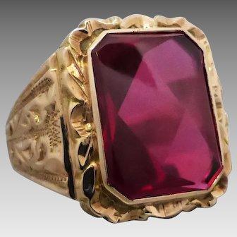 Vintage 9k Gold Ornately Patterned Synthetic Ruby Ring