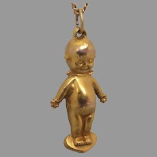 Antique Edwardian 9ct Gold Kewpie Doll Charm Pendant by Willis & Co