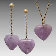 Vintage Lavender Amethyst Heart Set Pendant and Conversion Earrings, 9ct Fittings