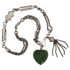 Antique Victorian Nickel Silver Tassel Nephrite Albertina Bracelet or Necklace